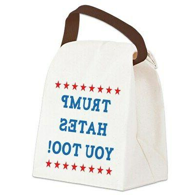 trump hates you too canvas lunch bag