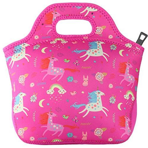 Unicorn Bag Girls Name Neoprene Tote Pink by GOPRENE