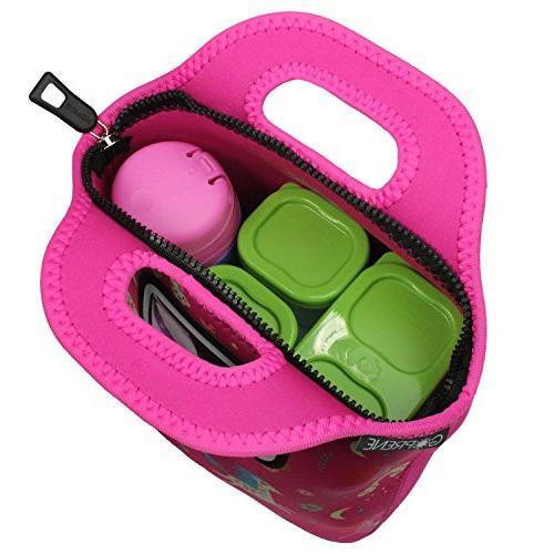 Girls | Name Label Pocket | Insulated Neoprene Tote | Pink Rainbow Unicorns by