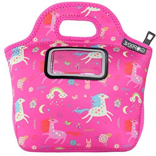 Unicorn Lunch Bag Girls Label Pocket | Neoprene | Pink Rainbow by
