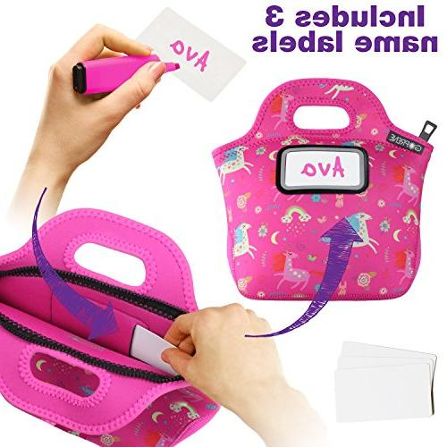 Unicorn Bag for Girls with Label Neoprene Tote | Pink Rainbow Unicorns by GOPRENE