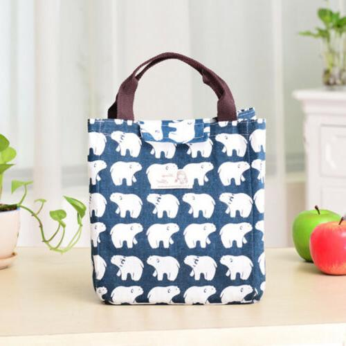 For Insulated Canvas Bag Thermal Lunch