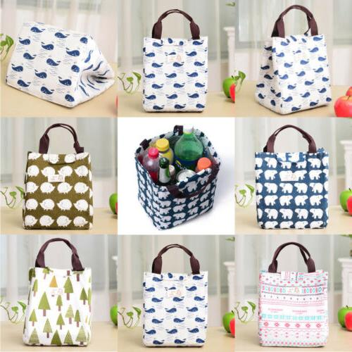 For Women Men Insulated Canvas Tote Bag Thermal Cooler Food Lunch Bags