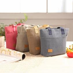 Large Capacity Insulated Hand Bag Durable Canvas Thermal Lun