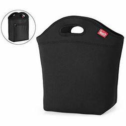 Large Lunch Bag With Inside Pocket Black Insulated For Women