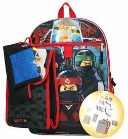 Lego Ninjago Boys 5 piece Backpack Snack Bag School Book Bag