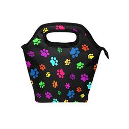 JOYPRINT Lunch Box Bag, Colorful Animal Dog Cat Paw Print In