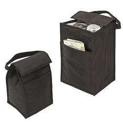 "LUNCH BAG BAGS BOX Recycled Insulated Black Bag 10"" with Poc"