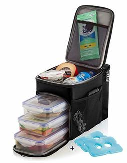 Lunch Bag Insulated Cooler Lunch Box w/3 Prep Lunch box Cont