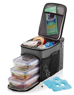 Zuzuro Travel Lunch Bag Insulated cooler Box w/ 3 compartmen