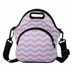 Lunch Bag Pink Wavy Lines Neoprene Lunch Boxes with Detachab