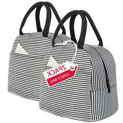 Lunch Bag 2 Pack Reusable Insulated Lunch Box Tote Bags-Lunc