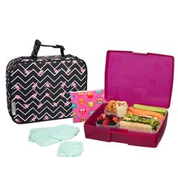 Bentology Lunch Bag and Box Set for Girls - Includes Insulat