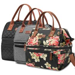 Lokass Lunch Bag Wide Insulated Box Double Capacity Tote Lea