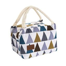 Geyou Lunch Bag,Insulated Canvas Box Tote Bag Thermal Cooler