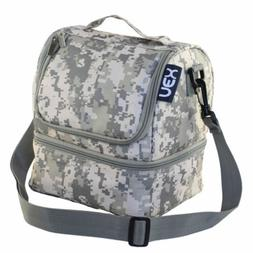 Lunch Box Double Decker Cooler Lunch Bag  with Zip Closure