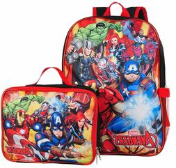 Marvel Boys Avengers School Backpack Lunch Box SET Book Bag