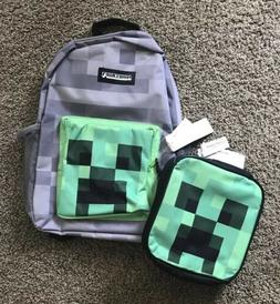 Minecraft Kids Grey Backpack Creeper Green Lunch Bag School