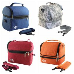 Lunch Bag Multi Color Double Decker Cooler Insulated Meal Bo