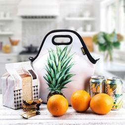 Neoprene Adult Lunch Bag for Women Thermal Pineapple Insulat
