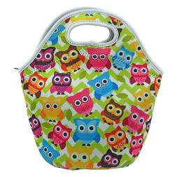 Neoprene Insulated Owl Lunch Bag Tote with Zipper, for Women