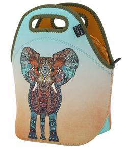Neoprene Lunch Bag Artist Monika Strigel Elephant Reusable E