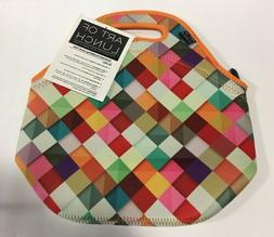 neoprene lunch bag by colorful geometric pattern