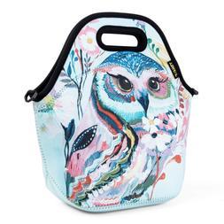 Neoprene Lunch Bag, Red Owl lunch bags for Women Kids Girls