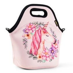 Neoprene Cute Lunch Bags for Kids Girl Unicorn School Office