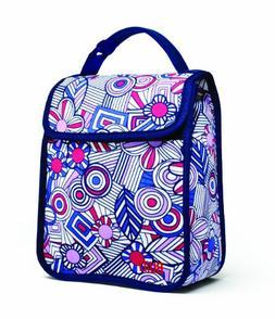 BUILT Neoprene Girl's Lunch Sack, Mosaic Flower Blue