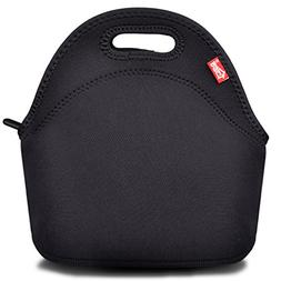 Black Neoprene Lunch Tote, Yookeehome Thick Reusable Insulat