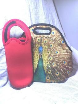 NEOPRENE PEACOCK LUNCH BAG WITH WATER BOTTLE HOLDER.