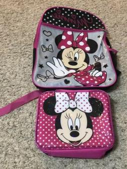 New Girls Pink Disney Minnie Mouse Backpack And Lunch Bag Se