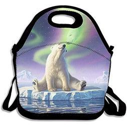 Speadeer Northern Lights Polar Bear Reusable Tote Lunch Bag