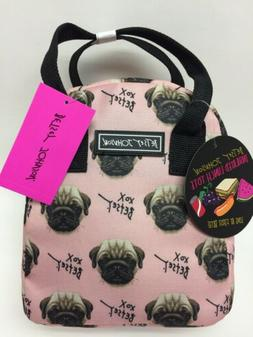 NWT Betsey Johnson Blush Pink Pug Insulated Lunch Tote Bag P