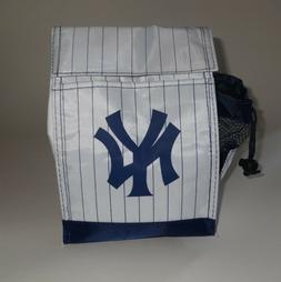 NY YANKEES ~ INSULATED LUNCH BAG ~ WHITE & BLUE PINSTRIPE TO