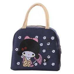 Organizer Outdoor Portable Lunch Bag Cartoon Girl Tote Stora