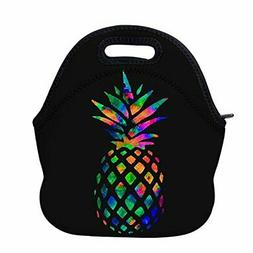 AOTIGO Pineapple Colorful Neoprene Lunch Bag Insulated Lunch