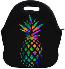 AOTIGO Pineapple Colorful Neoprene Lunch Bag Insulated Lunch