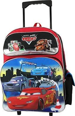 "New Disney Pixar Cars 3 Large 16"" Canvas Red Rolling Backpac"