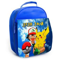 Pokemon Lunch Bag School Childrens Boys Insulated Blue Perso