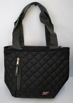 POLAR PACK Insulated Lunch Bag - Front Zipper Pocket - Black
