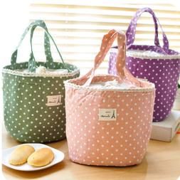 Portable Canvas Case Handbag Lovely Sweet Wave Point Tote Lu