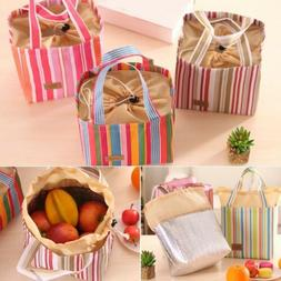 Portable Canvas Lunch Bags Stripe Picnic Carry Case Thermal