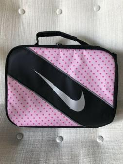 Nike Pouch Insulated Lunch Bag Pouch Storage Case Pink Polka