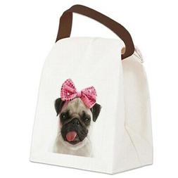 pug canvas lunch bag with strap handle
