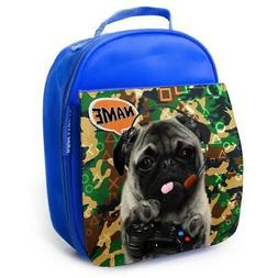 Pug Lunch Bag School Childrens Boys Insulated Blue Personali