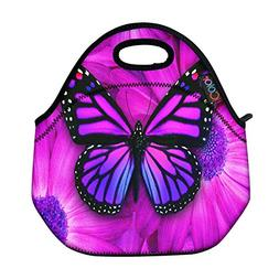 ICOLOR Purple Big Butterfly Insulated Neoprene Lunch Bag Tot