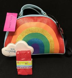 Betsey Johnson Rainbow Insulated Lunch Tote Bag Crossbody w/