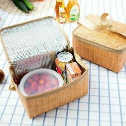 Rattan Lunch Bag Food Storage Basket Insulated Portable Ther